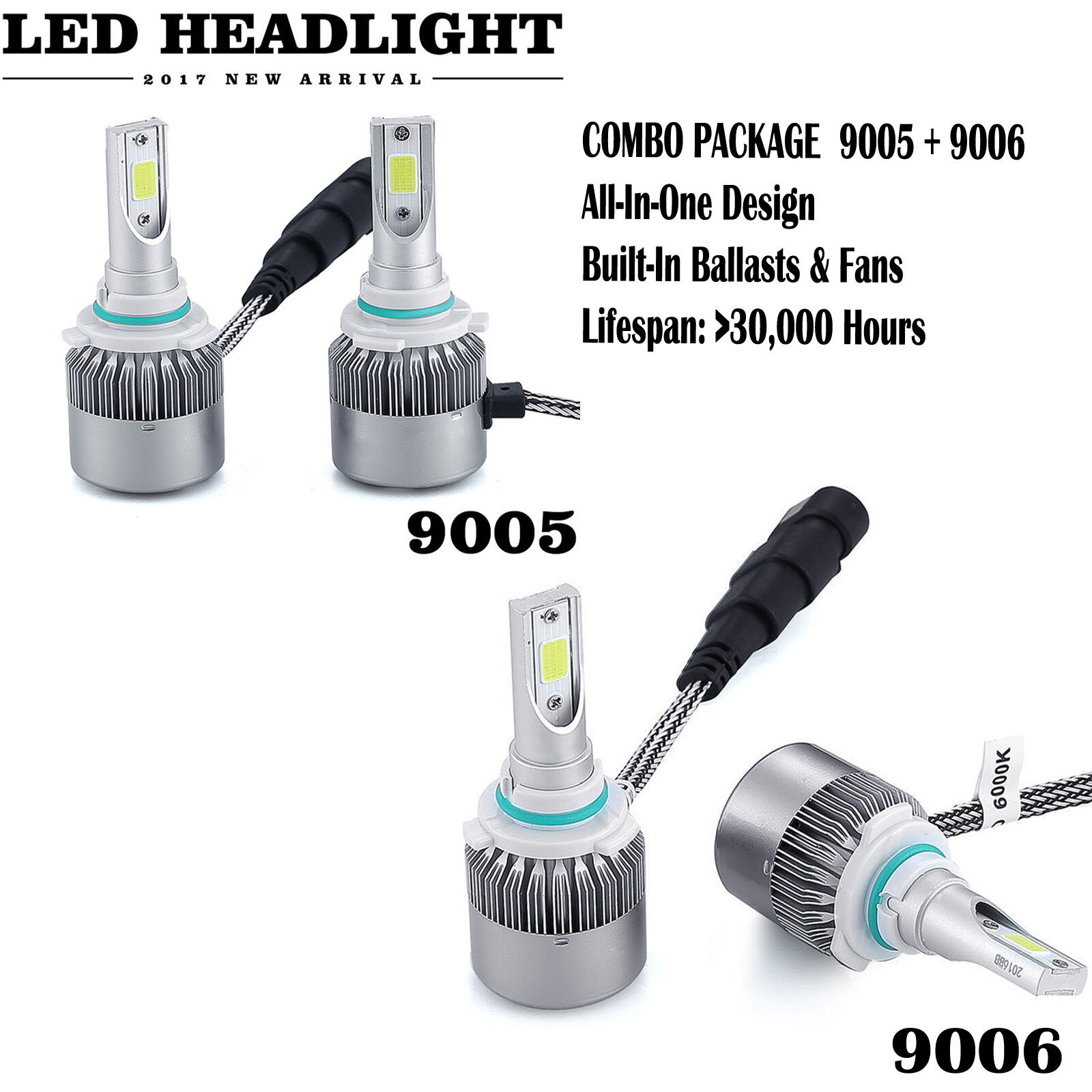 Led - 9006 9005 Total 1960W LED Headlight High Low Beam 9012 H10 Combo Kit 6000K White