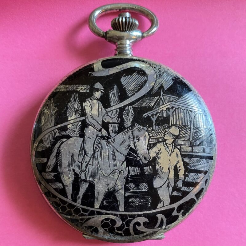 Arnex Time Sterling Silver .925 Antique Double Hunter Swiss Pocket Watch 52mm