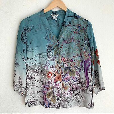 Citron Santa Monica 100% silk ombré floral blouse