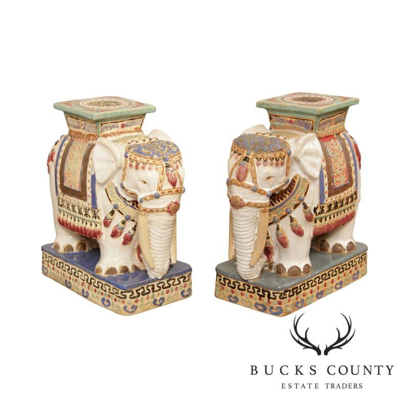 Vintage Pair Glazed Ceramic Elephant Garden Stools