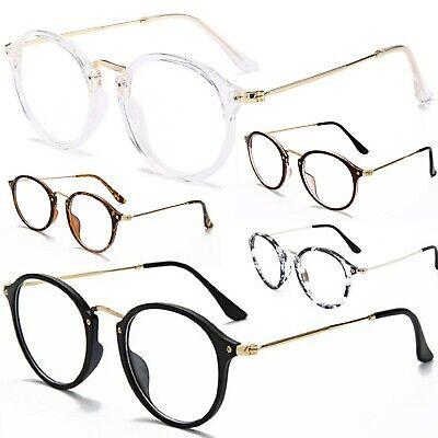 Anti Glare Clear Lens Fashion Glasses Slim Frame Womens Mens Vintage Retro Geek