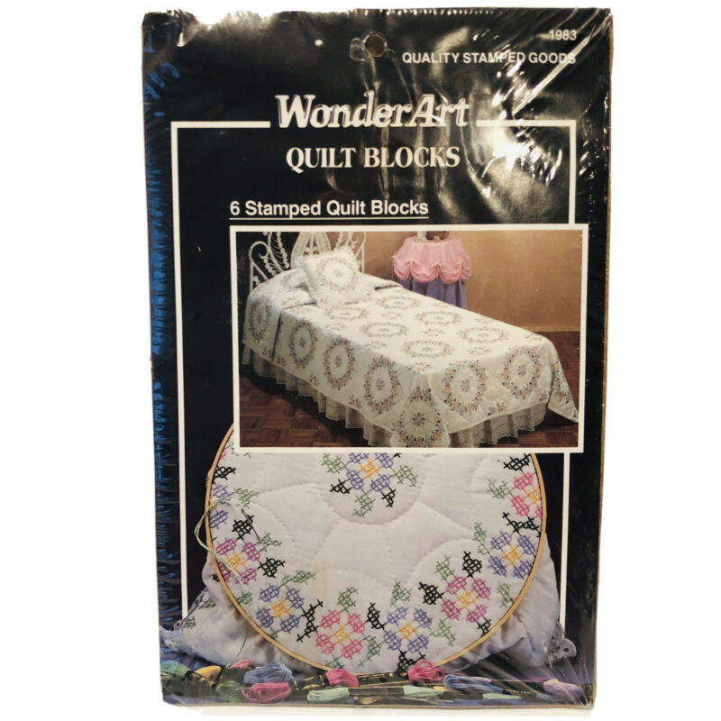 """Wonder Art SPRING BLOSSOM stamped embroidery QUILT BLOCKS 17x17"""" 6 each # 1983"""