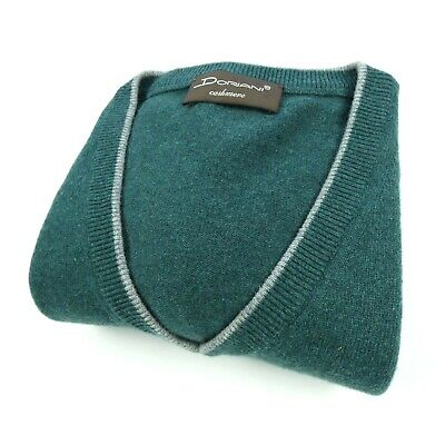 Mens DORIANI 100% Cashmere Sweater Vest V Neck Pullover Size 58 XXL Green