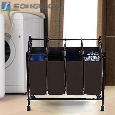 Wäschesortierer Wäschebox Wäschekorb Wäschewagen Wäschesammler brauner LSF005Z