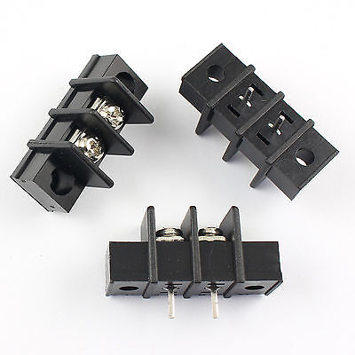 10pcs Black 7.62mm Pitch 2 Pin Barrier Terminal Block Connector With Screw Hole