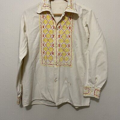 1970s Mens Shirt Styles – Vintage 70s Shirts for Guys Vintage 1970's Embroidered Mexican Western Cotton Canvas Bohemian Shirt button $25.00 AT vintagedancer.com