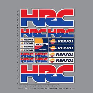 Honda HRC Stickers Repsol Motorcycle Decals Set A4 Sheet - Fireblade CBR - 2452