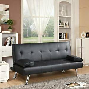 3 Seater Sofa Bed Faux Leather Black Sofa Bed recliner Luxury Modern Design