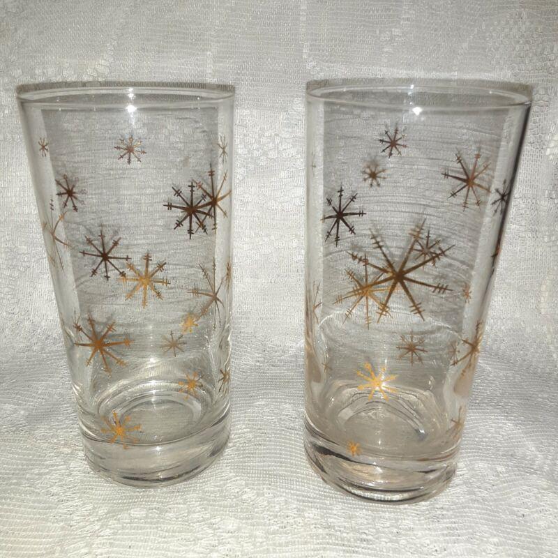 Two Vintage Gold Starburst Snowflake Drinking Glass Tumblers MCM