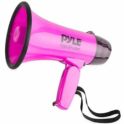 Pyle Compact Portable Megaphone Speaker Siren Bullhorn (Pink)