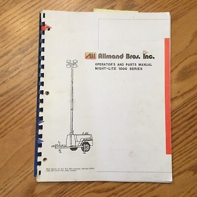 Allmand Night-lite 1000 Light Tower Operators Maintenance Manual Parts Book