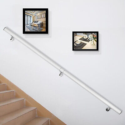 Pasamanos de Escaleras, Barandilla de Escalera de Aluminio de 183cm Blanca