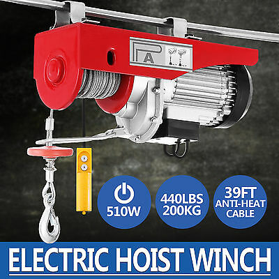 440lbs Electric Hoist Winch Lifting Engine Crane Double Line Brackets Pulley