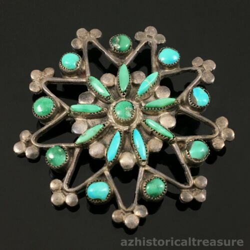 NATIVE AMERICAN ZUNI HANDMADE SILVER & NATURAL TURQUOISE STAR FLOWER PIN BROOCH