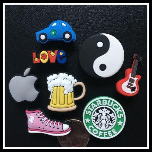 8 Shoe Charms for Crocs YIN YANG LOVE APPLE BEER PINK HIGH TOP SHOE CAR GUITAR