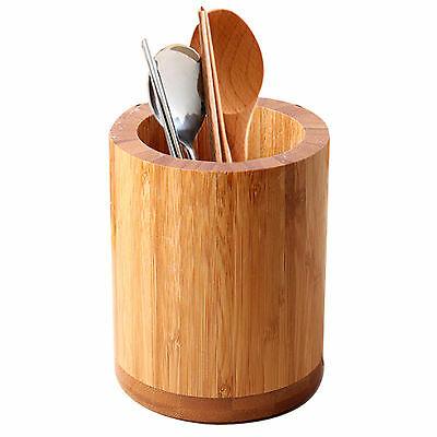 Kitchen Bamboo Round Spoon Chopsticks Fork Holder Cutlery Storage Organizer
