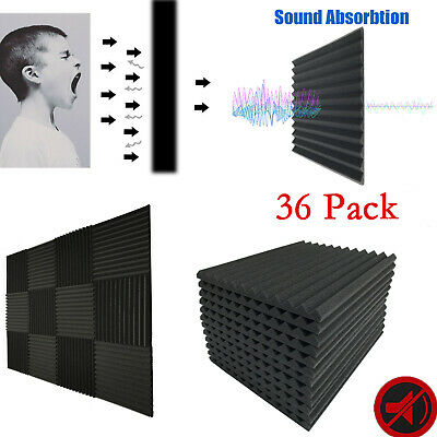 36 Pack Acoustic Foam Panels Studio Sound Insulation Soundproofing Wedge Tiles
