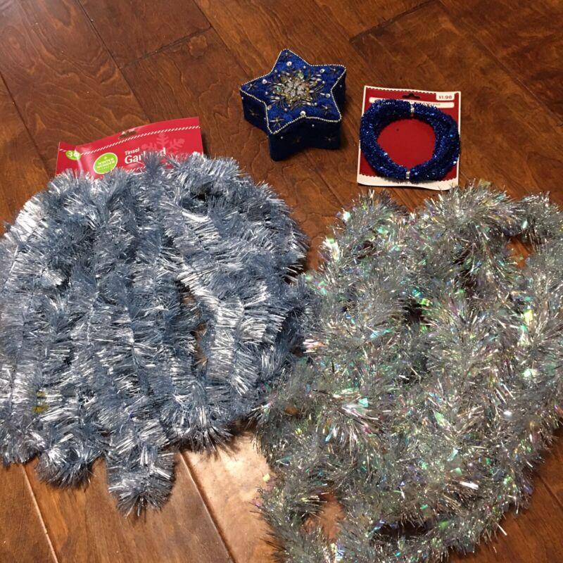 "Blue Silver Christmas Tinsel Garland 5.5"" blue box Winter decor 30 , 15 & 9 feet"