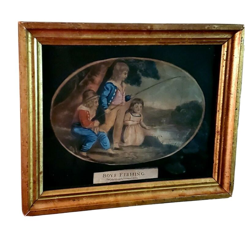 18th. Century Watercolor In Gilt Wood Frame