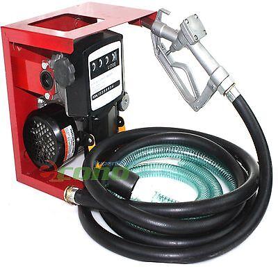 110v Electric Oil Fuel Bio Diesel Gas Transfer Pump W/ Meter + 12' Hose & Nozzle