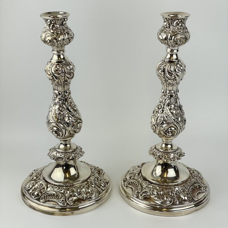Pair Of Antique Silver Plated 32cm Candlesticks Ornate Rococo Scrolling Foliage