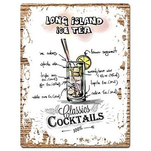 Pp0681 Cocktails Long Island Ice Tea Chic Plate Sign Home