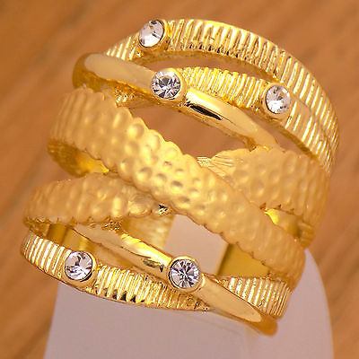 Incredible Gorgeous Gold Plate Luxury Stylish Ring Size 7 US with White -