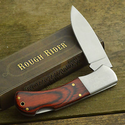 Rough Rider Rich Wood Grain Handle Pocket Knife Laser Engraved Bolsters RR182 for sale  Shipping to Canada