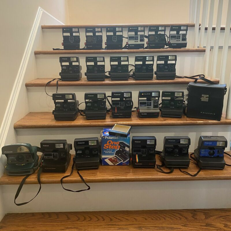 Massive Collection Lot: 22 Polaroid One Step Cameras, Rainbow Sun 600/660 + Film