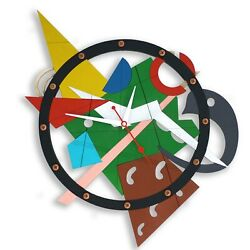 Composition Numero  Duo Large Wall Clock abstract modern art wooden home decor