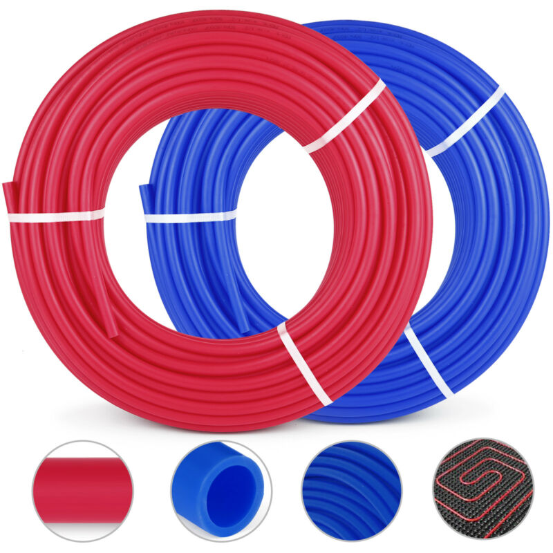 1/2 600 2 Coils 300 Red & 300 Blue Certified Non-Barrier PEX Tubing Htg/Plbg