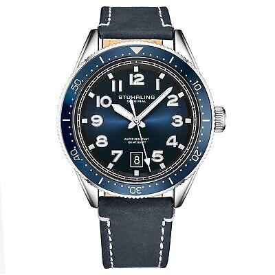 Stuhrling Men's Quartz Blue Dial Luminous Hands Markers Blue Leather Strap Watch