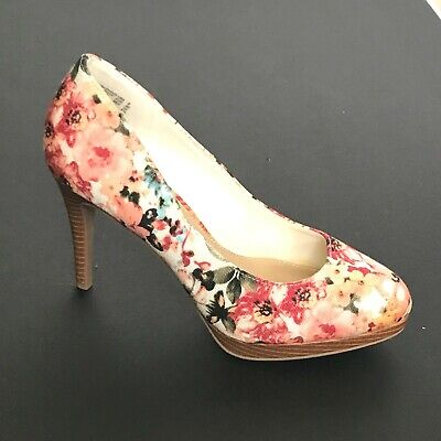 CHRISTIAN SIRIANO Floral Pumps High Wood Heels Pink Roses size 8