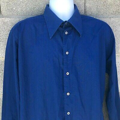 Versace Classic Mens Royal Blue Long Sleeve Button Up Shirt Vintage 90s Sz XL 44