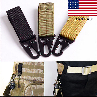 Military Nylon Key Hook Webbing Molle Buckle Outdoor Hanging Belt Carabiner Clip