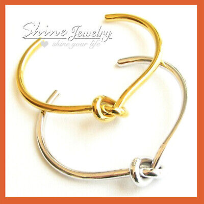 18K SILVER ROSE GOLD GF handmade LOVE KNOT OPEN RING BAND CUFF BANGLE BRACELET