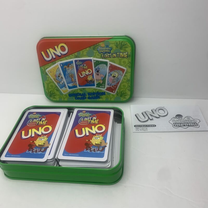UNO Spongebob Squarepants Special Ed. in Tin 2002 Mattel *COMPLETE*