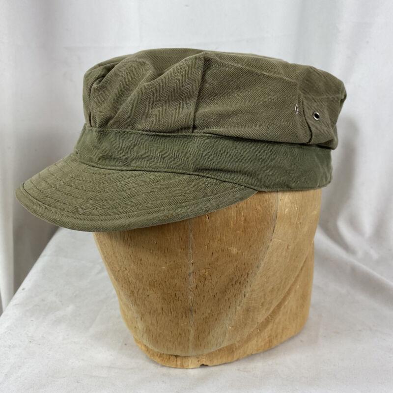 Original Wwii US Army Hbt Herringbone Cap Size 7 3/8