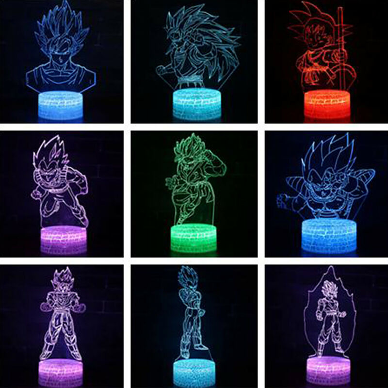 Dragon Ball Z Son Goku 3D Illusion LED Night Light Touch Table Lamp Decor Gift Home & Garden