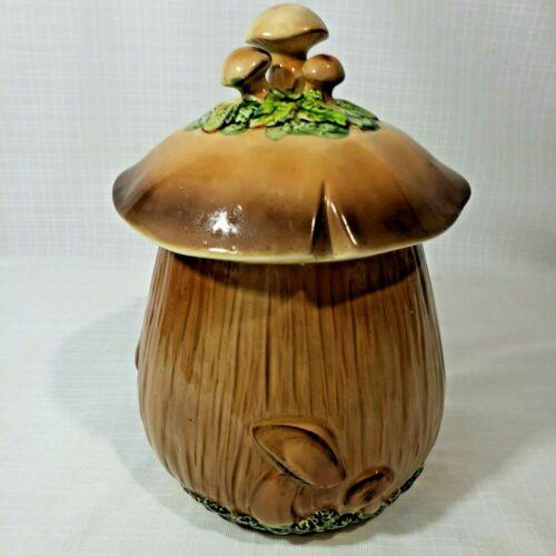 """10"""" Vintage Ceramic Brown Mushroom Canister Cookie Jar & Lid"""