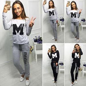Mujer-2-piezas-Informal-Corredor-ropa-deportiva-sudadera-pantalon-de-chandal