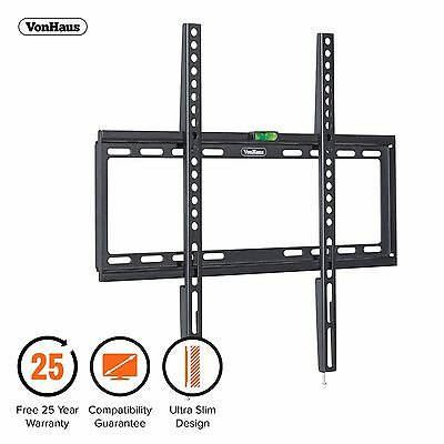 "VonHaus 32-55"" Fixed TV Wall Mount Bracket with Ultra Slim Design & Spirit Level"