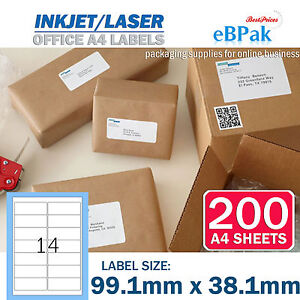 200-x-14-Peel-Paste-Label-A4-Mailing-Address-labels-Laser-Inkjet-L14-99-1x38-1mm