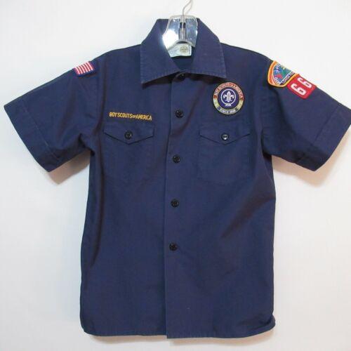 Boy Scouts BSA Cub Scout Blue Uniform SS Shirt Official Patches Youth Medium M