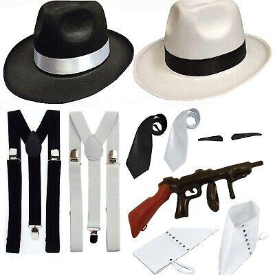 ADULT GANGSTER FANCY DRESS HAT BRACES 1920'S GATSBY BUGSY MALONE AL CAPONE - Gangster Fancy Dress Kostüm