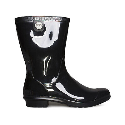 UGG SIENNA BLACK WATERPROOF RUBBER BOOT WOMEN'S RAINBOOTS SIZE US 8/UK 6 NEW