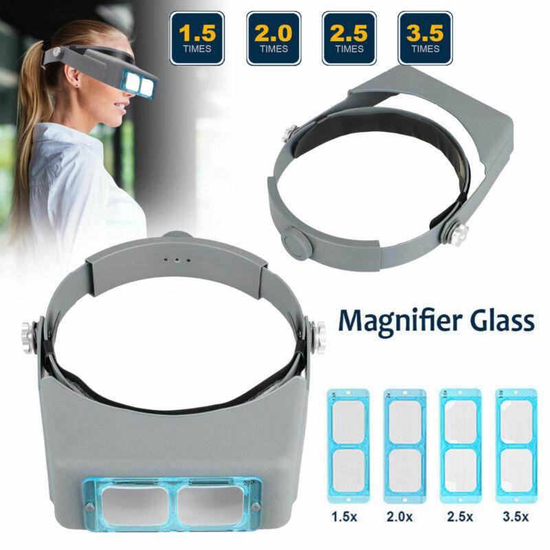 Optivisor Lens Head Magnifier Glasses Magnifying Visor Glass Headband 4 Lenses