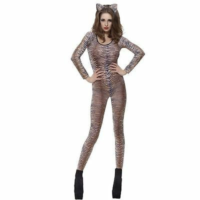 Adult Ladies Fever Tiger Print Animal Catsuit Fancy Dress Costume Body Suit (Animal Print Fancy Dress Kostüme)