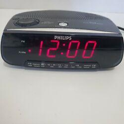 Philips AM/FM Clock Radio Alarm Model AJ3120/17 Tested & Works