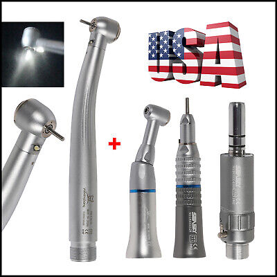 Dental High Low Speed Handpiece Kit Push Button 2h E-generator Led Optic Fit Nsk